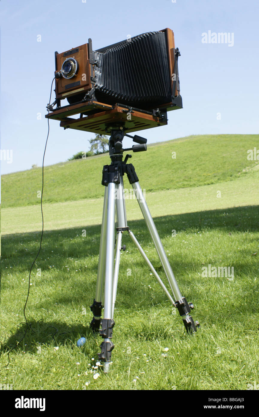 large format folding camera - Stock Image