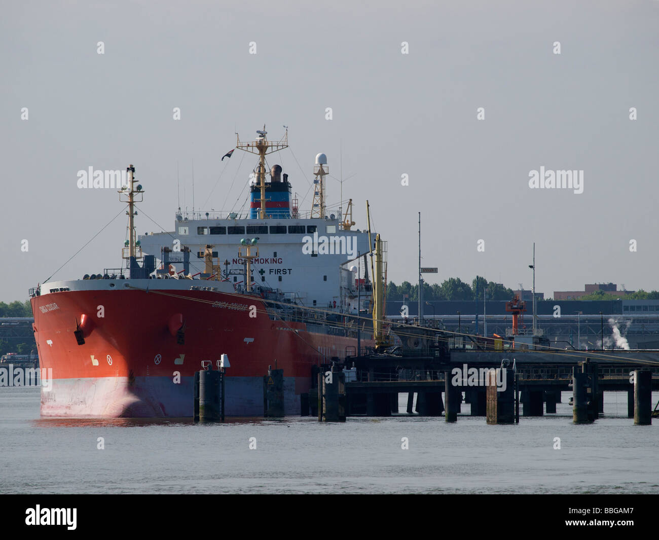 Oil tanker Ginga Cougar in the port of Rotterdam zuid Holland the Netherlands Stock Photo