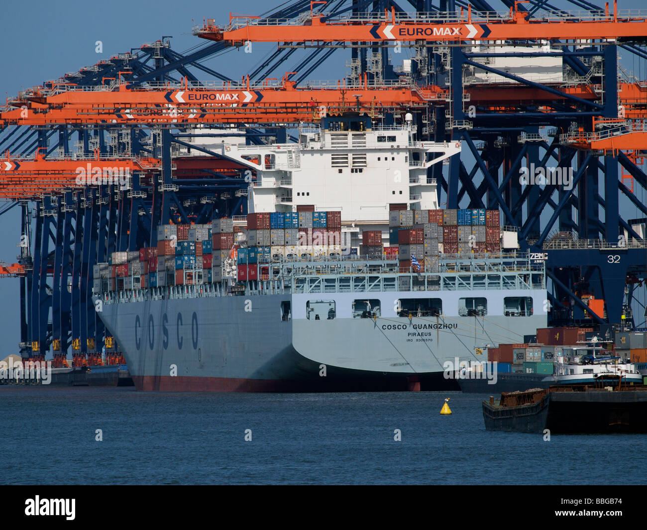 Large Cosco container ship at Euromax terminal in the port of Rotterdam Zuid Holland the Netherlands Stock Photo