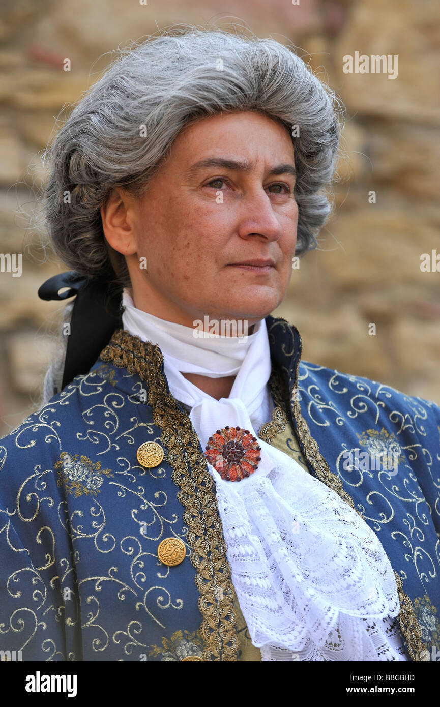 Life in the Baroque period of the 18th Century, man in Venetian clothes, Schiller Jahrhundertfest century festival, - Stock Image