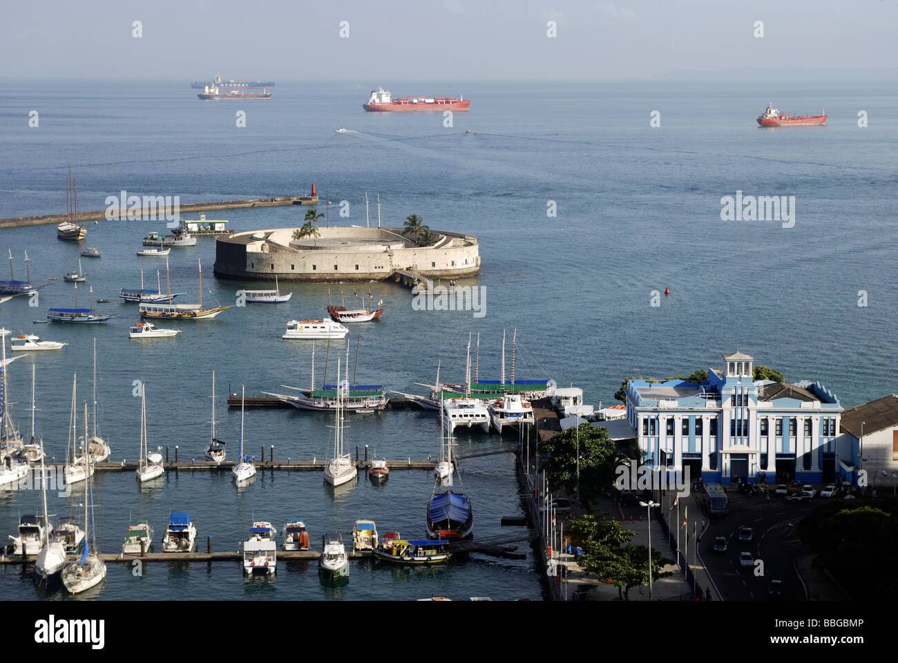 View of the defensive fortification Forte Sao Marcelo and docks, Salvador, Bahia, UNESCO World Heritage Site, Brazil, Stock Photo