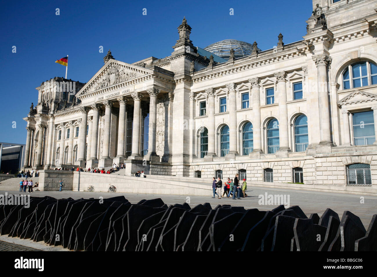 Reichstag parliament building and memorial to the 96 Members of Parliament murdered during the Third Empire, seen - Stock Image