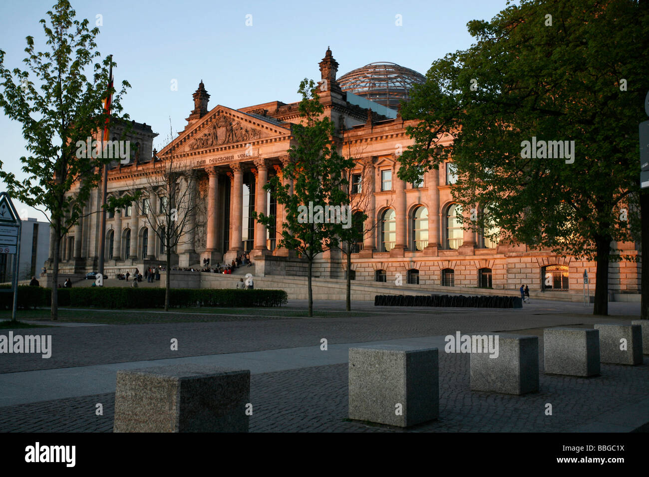 Reichstag parliament building and memorial for the 96 Members of Parliament murdered during the Third Empire, seen - Stock Image