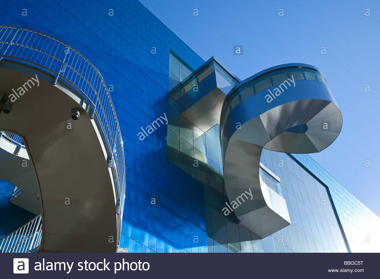 Exterior staircase on Grange Park side of Frank Gehry addition to the Art Gallery of Ontario in Toronto Ontario - Stock Image