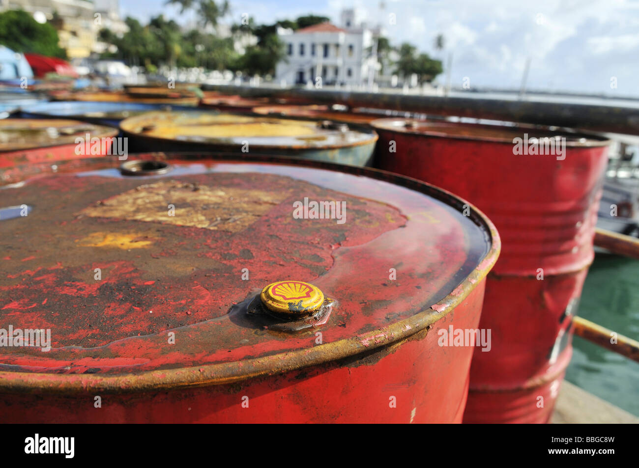 Rusting oil barrels, Shell, in the port of Salvador, Bahia, South America Stock Photo