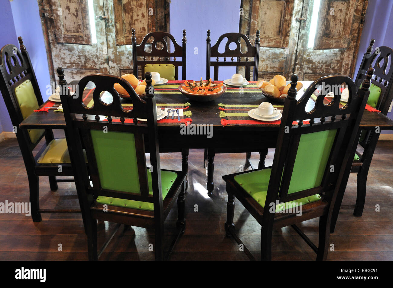 Stylish laid out breakfast table, Hotel Cafe Bahia, Salvador, Bahia, Brazil, South America - Stock Image