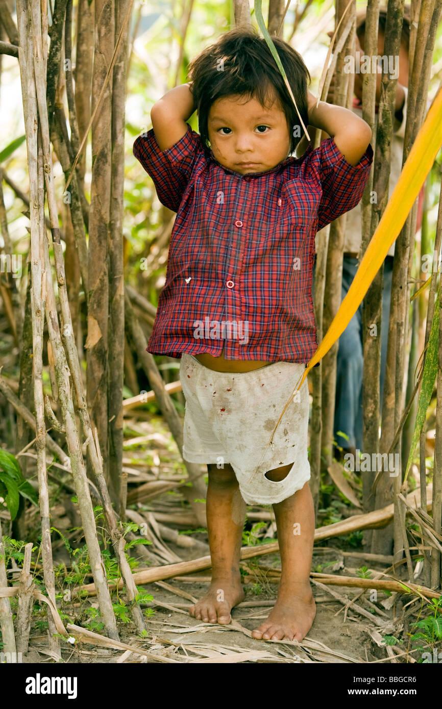 Young child from the Anangu Quichua community - Yasuni National Park - Napo Province, Ecuador - Stock Image