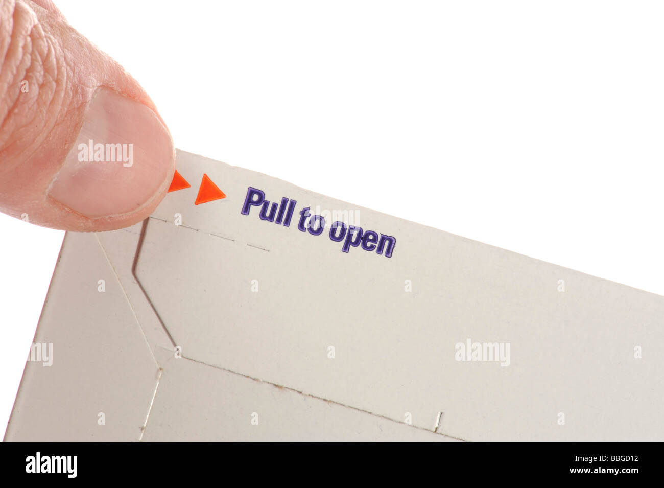 Opening flap of an envelope from recyclable materials - Stock Image