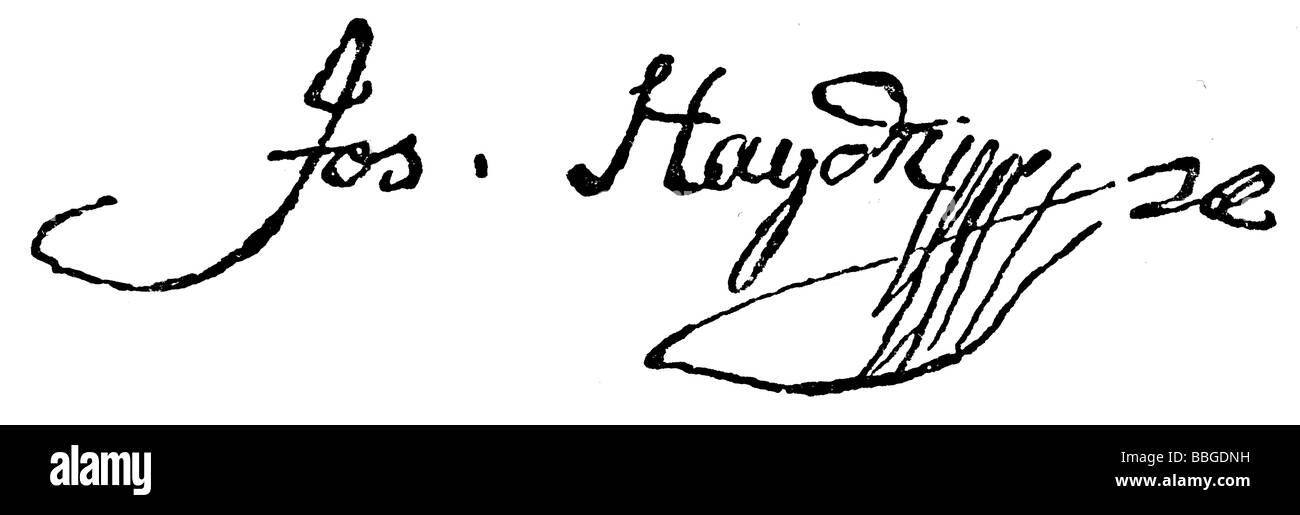 signature from Joseph Haydn - Stock Image