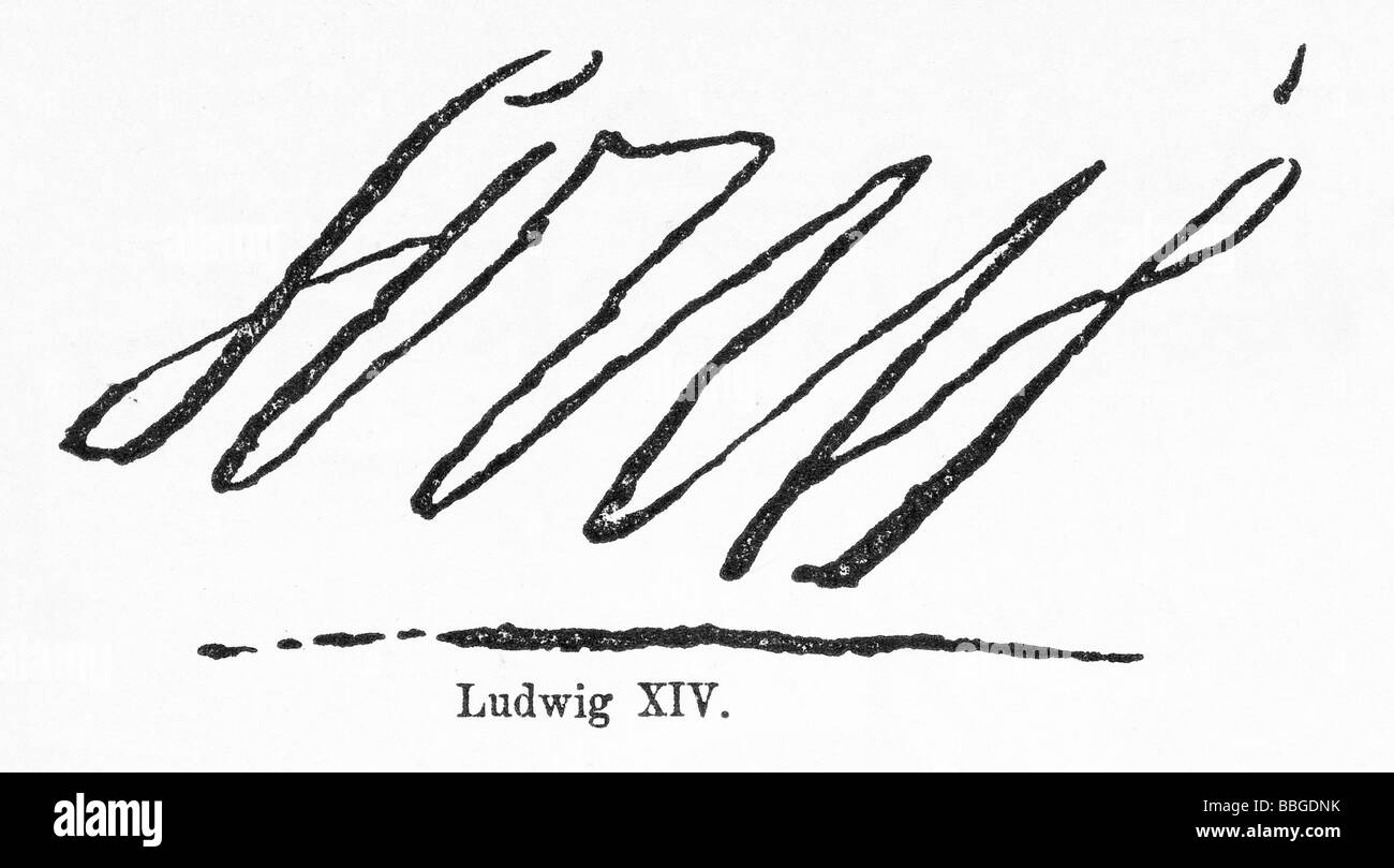 signature from Ludwig XIV. Stock Photo