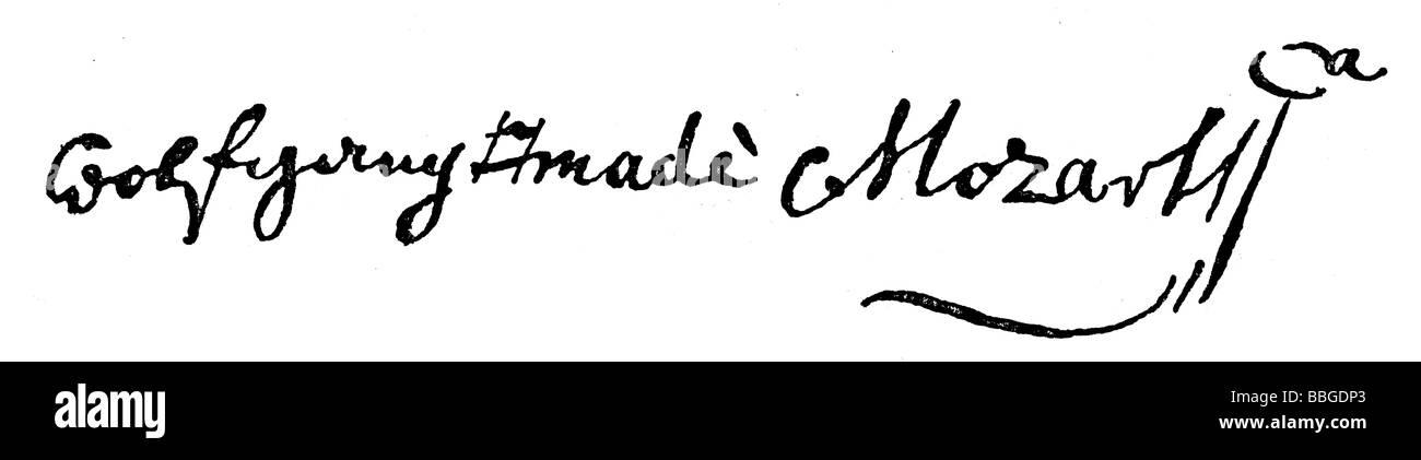 signature from  Wolfgang Amadeus Mozart - Stock Image