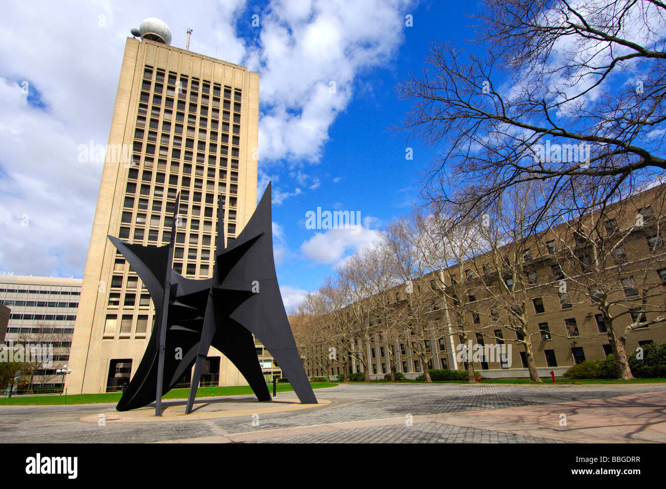The Big Sail sculpture by Alexander Calder in front of the Green building, building 54, in McDermott Court on the - Stock Image