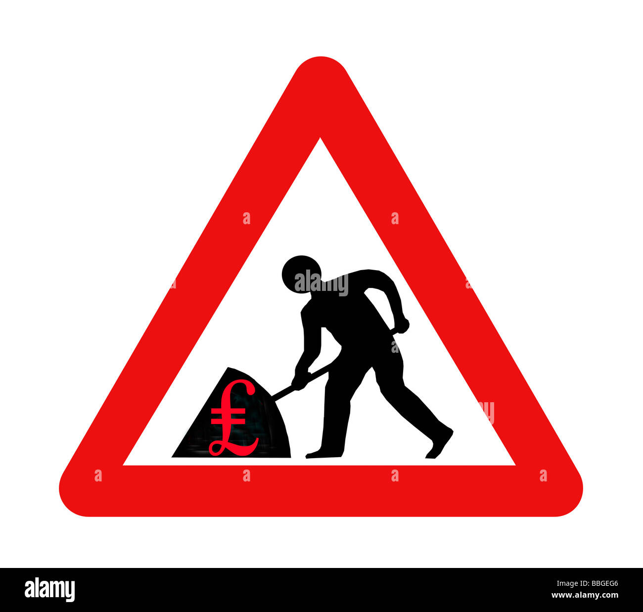 Men at work road sign depicting man shoveling money. Could be used to depict MP''s expenses, greed, big - Stock Image