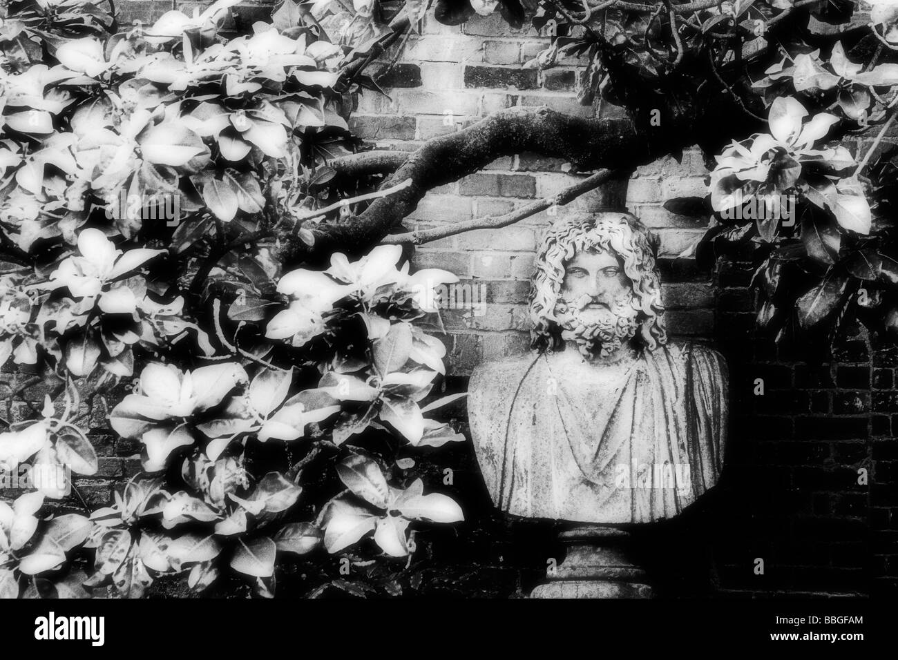 Infra red photo of garden statue in Winchester, Hampshire, England - Stock Image