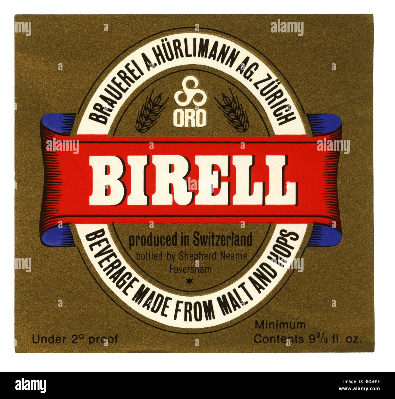 Old beer label for Hurlimann's Birell, Zurich, Switzerland - Stock Image