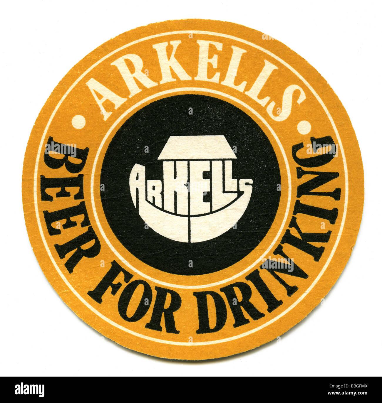 Old beermat for Arkells beers, Kingsdown, Swindon, Wiltshire Stock Photo