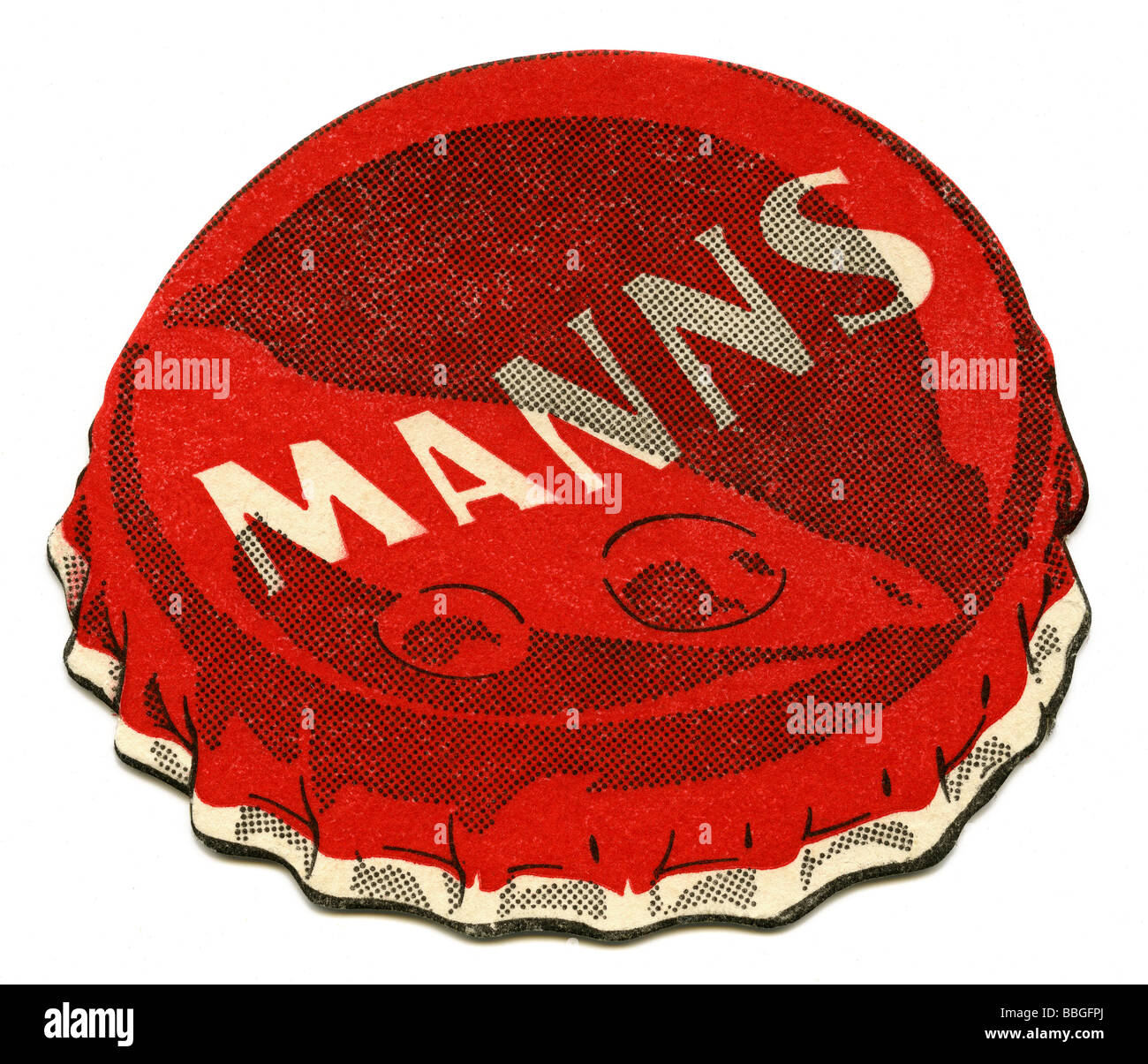 Old beermat from Manns, London - Stock Image