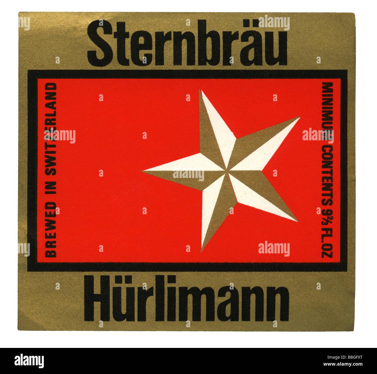 Old beer label for Hurlimann's Sternbrau, Zurich, Switzerland - Stock Image
