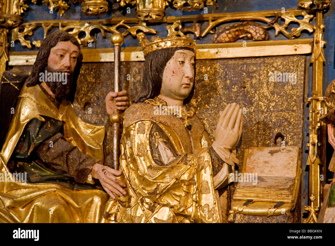 Altarpiece in the Cartuja Santa María de Miraflores in Burgos Castilla Leon Spain - Stock Image