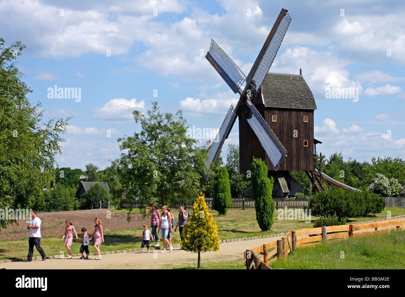 wooden windmill at mill museum Gifhorn in Northern Germany - Stock Image
