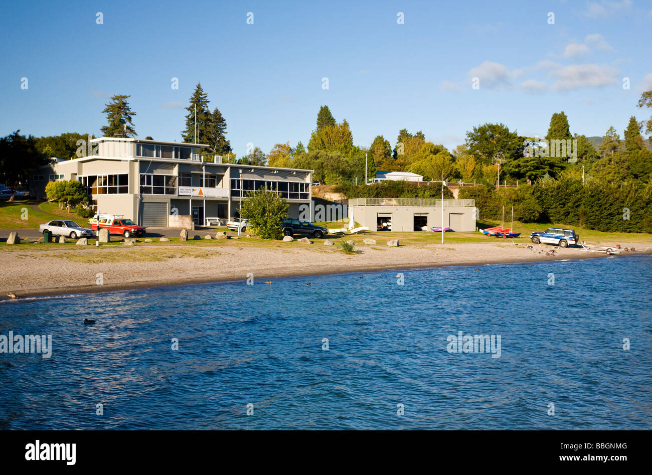 Lake Taupo Yacht Club North Island New Zealand - Stock Image