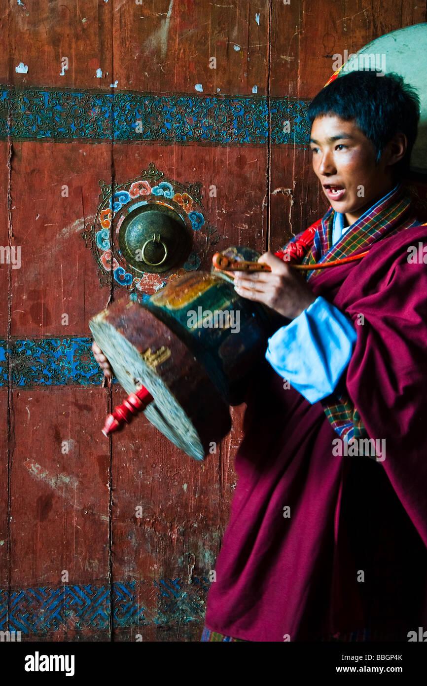 Performer at Ura Festival, Shingkhar Village, Bhutan - Stock Image