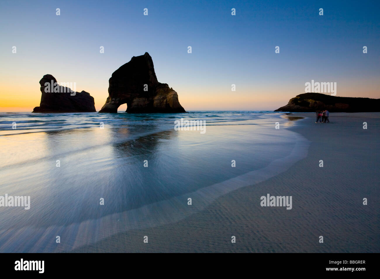 Sea stacks on Wharariki Beach Nelson South Island New Zealand - Stock Image