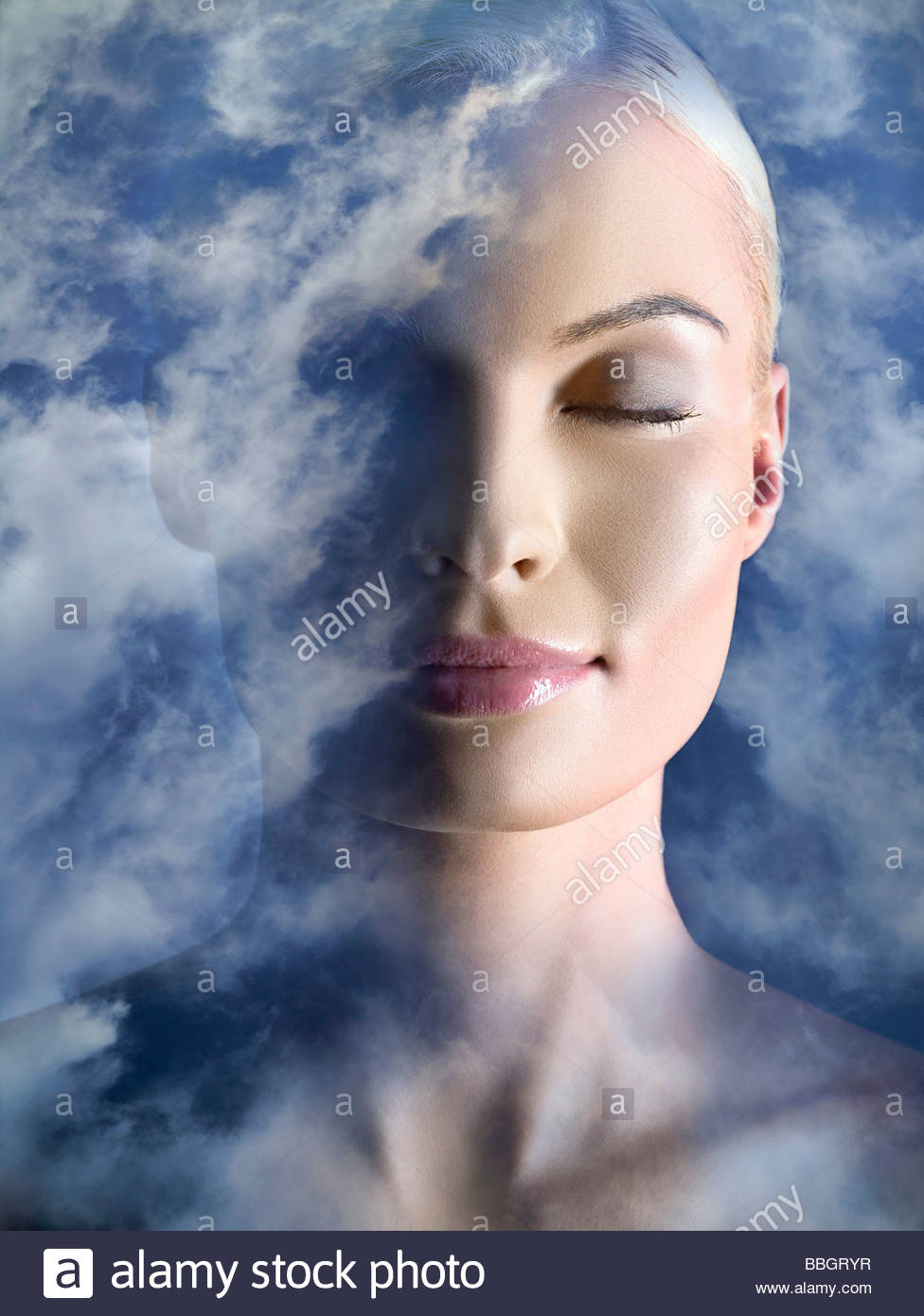Portrait woman clouds, digital composite - Stock Image