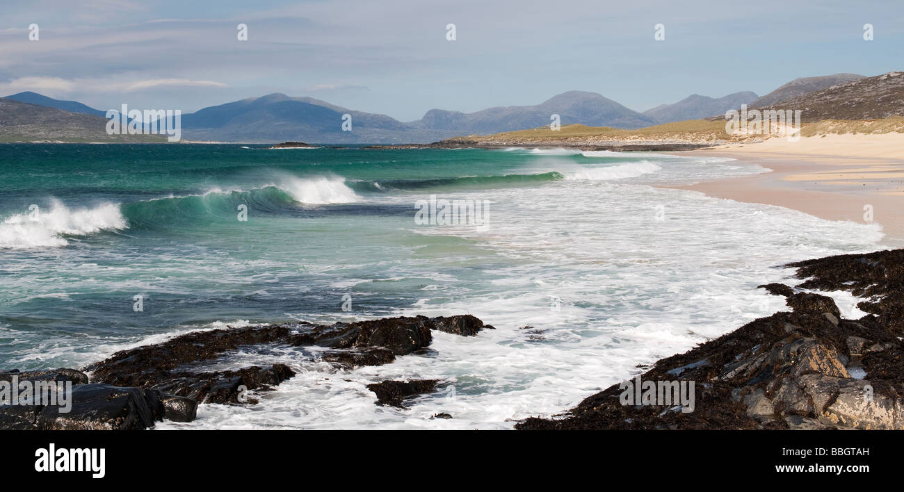 Traigh Lar beach, Isle of Harris, Outer Hebrides, Scotland. Panormaic Stock Photo