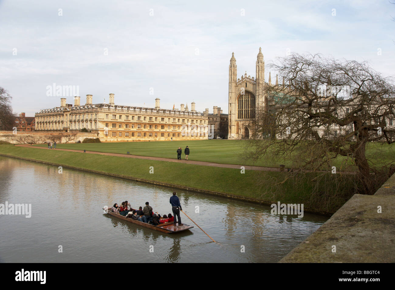 England;Cambridge;Punting on the River Cam;Clare College 1326 AD on the left,King's College Chapel 1441 AD on - Stock Image