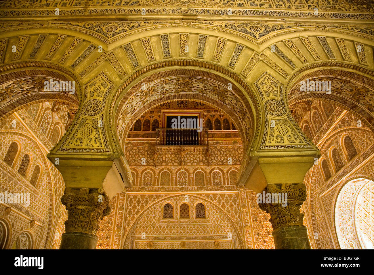 Hall of Ambassadors in the Mudejar Palace of Los Reales Alcazares Seville Andalusia Spain Stock Photo