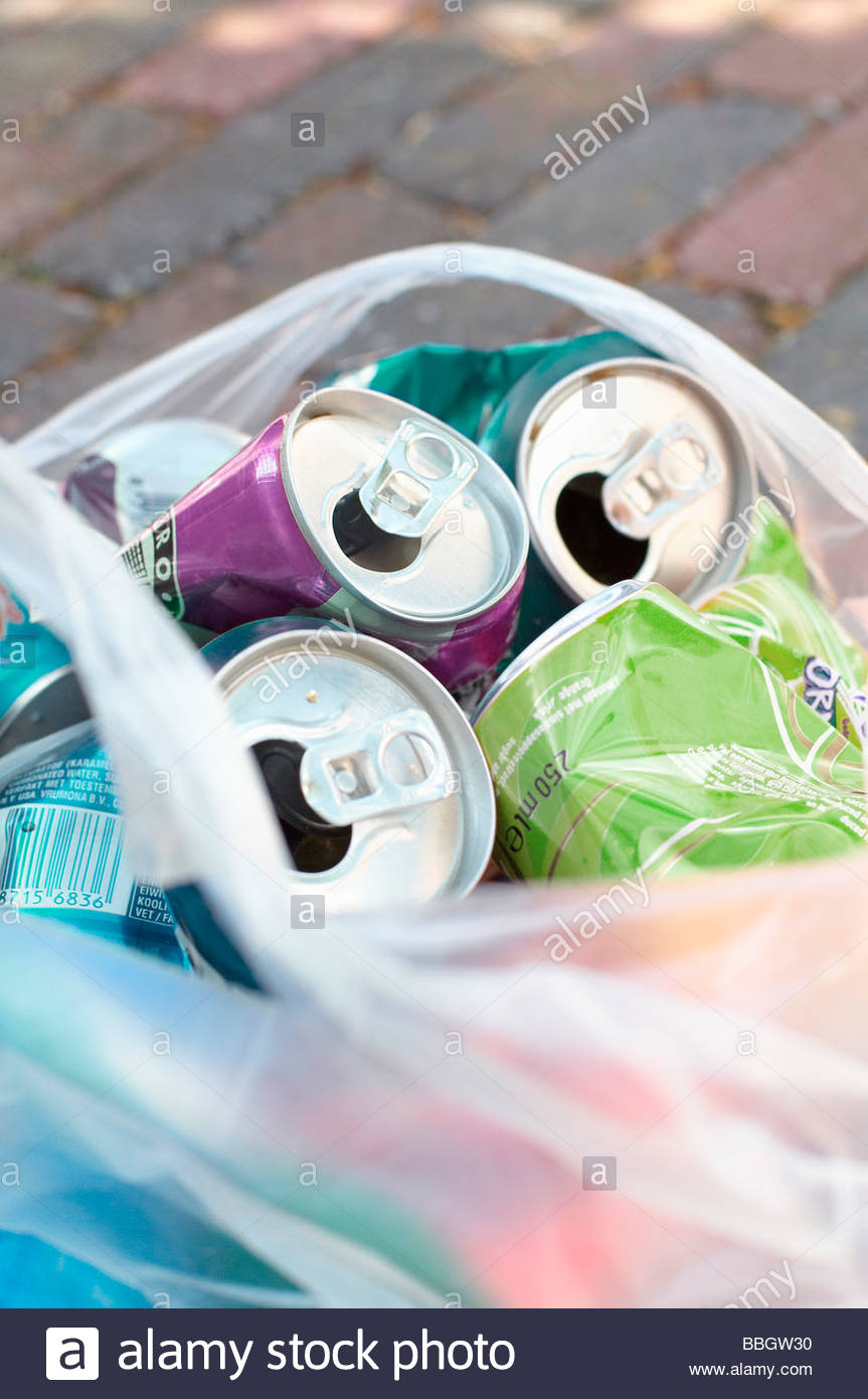 Close-up a bag empty aluminum cans for recycling - Stock Image