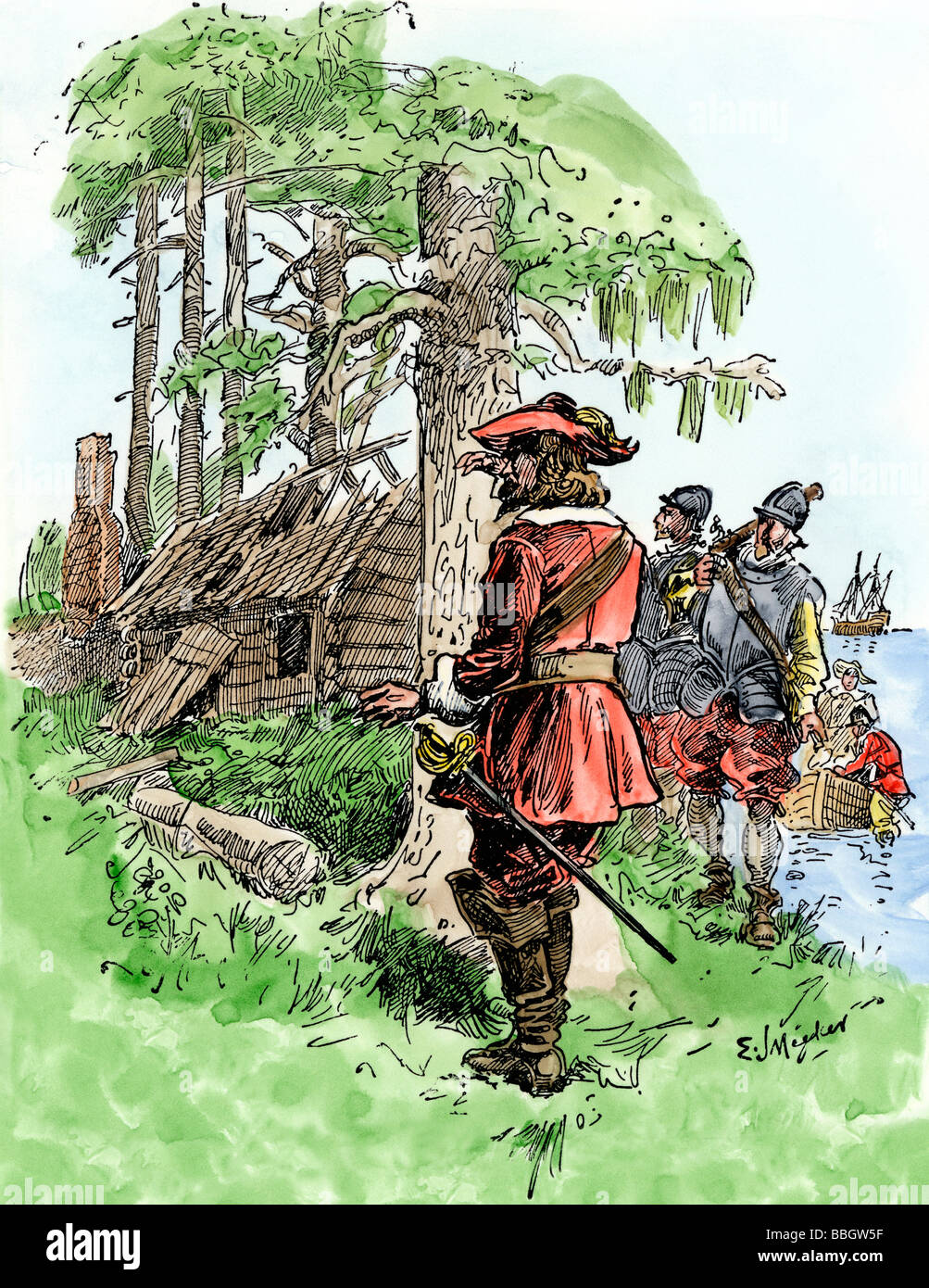 Return of Governor John White to find Roanoke colonists have vanished 1591. Hand-colored woodcut - Stock Image