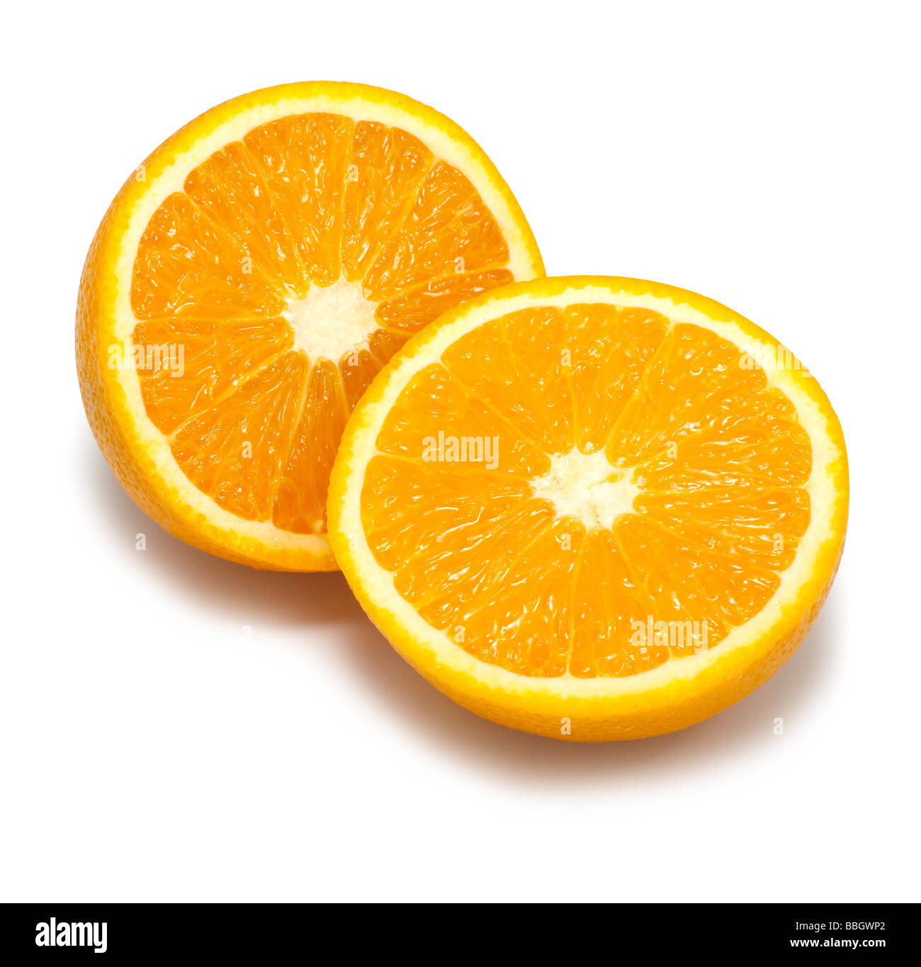 Half oranges cut out on a white background - Stock Image