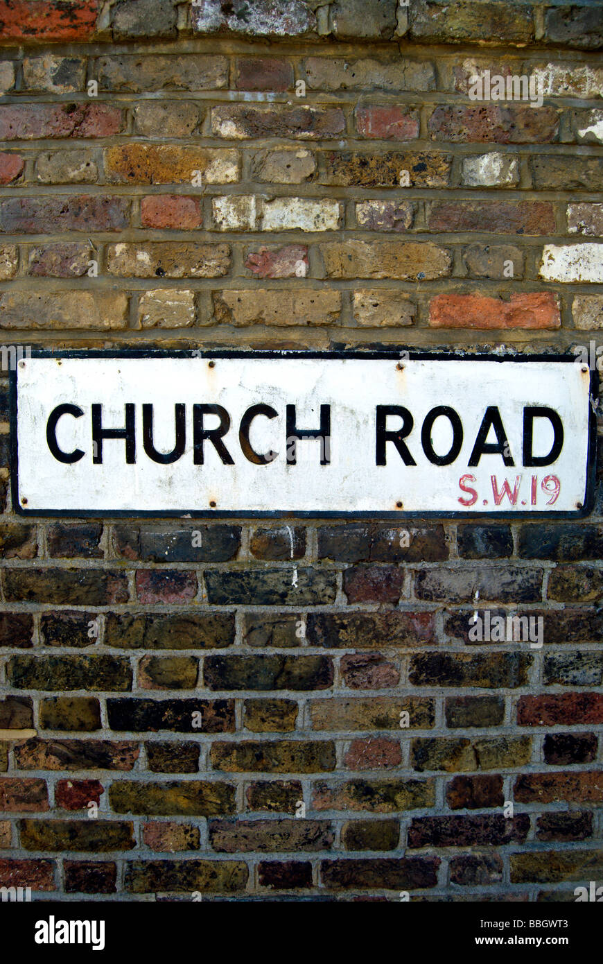 street name sign for church road, wimbledon, with sw19 london postcode - Stock Image