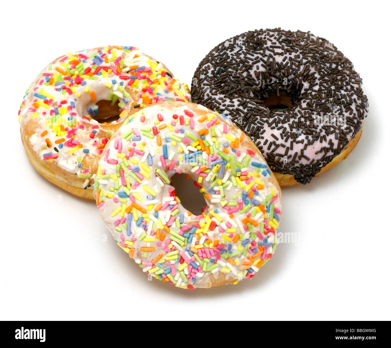 Doughnuts donuts cut out on a white background - Stock Image