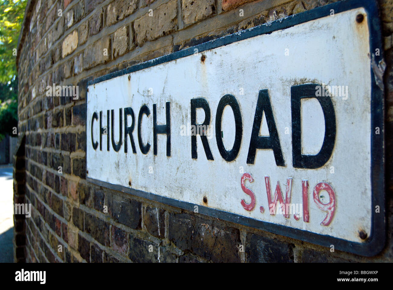 street name sign for church road, wimbledon, with sw19