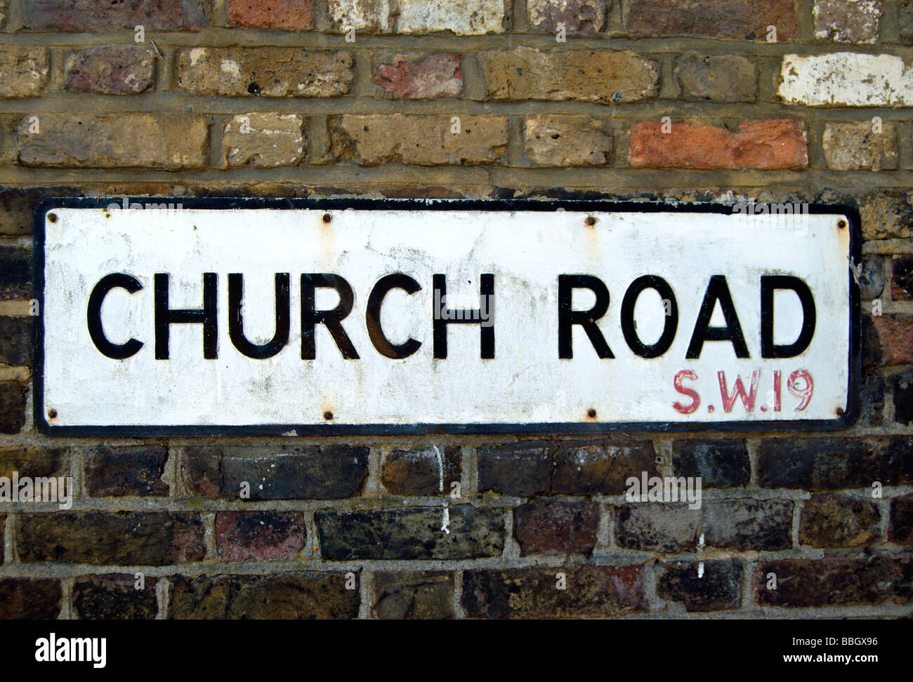street name sign for church road, london SW19 - Stock Image
