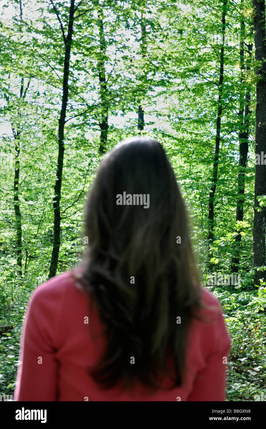 Young Woman in Woods - Stock Image