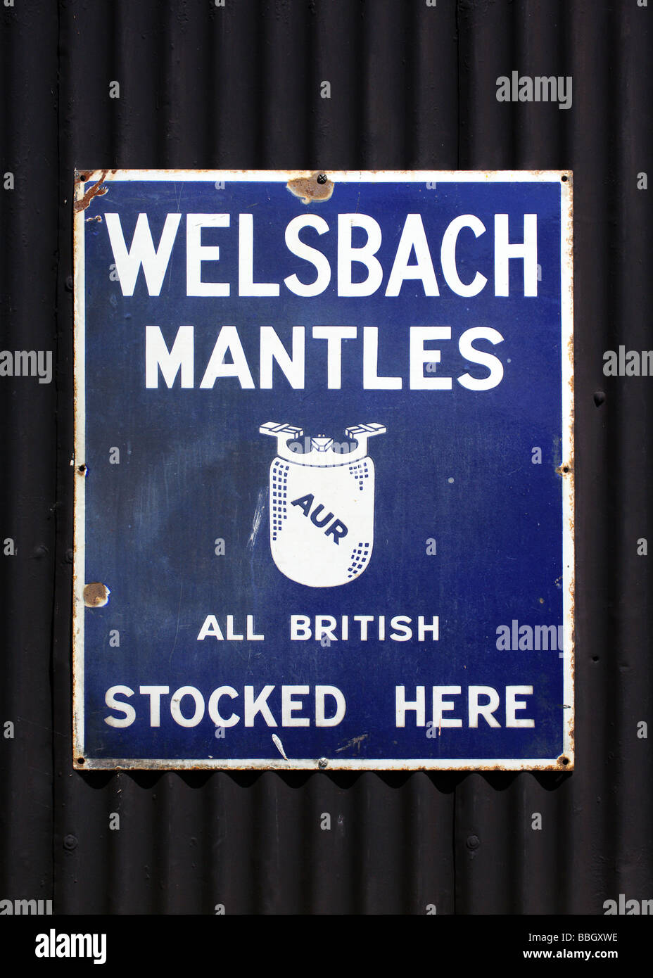 Old advertising sign at Carrog railway station on the Llangollen Steam Railway line - Stock Image