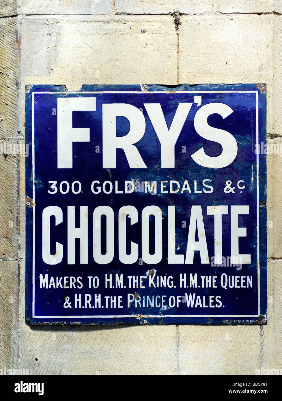 Old sign advertising Frys Chocolate - Stock Image