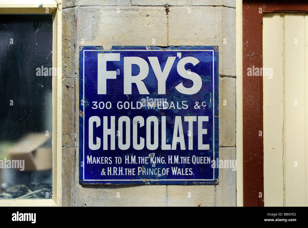 Old advertising sign for Frys Chocolate - Stock Image