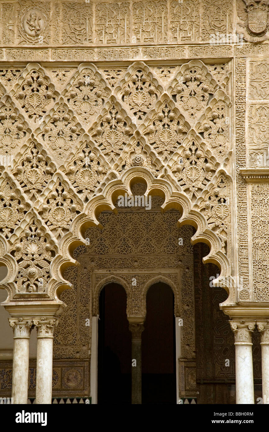 Courtyard of Las Doncellas in the Mudejar Palace of Los Reales Alcazares Seville Andalusia Spain Stock Photo
