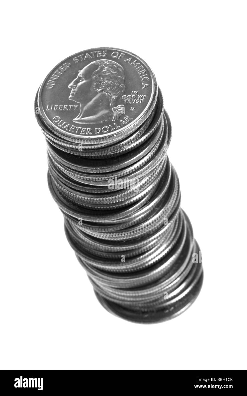 Stack of quarters on white background - Stock Image
