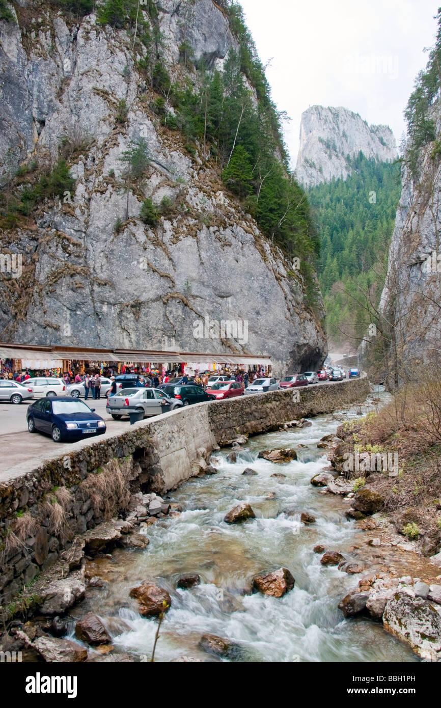 Romania's Bicaz River canyon gorge between Transylvania and Moldova in Eastern Carpathian mountains - Stock Image
