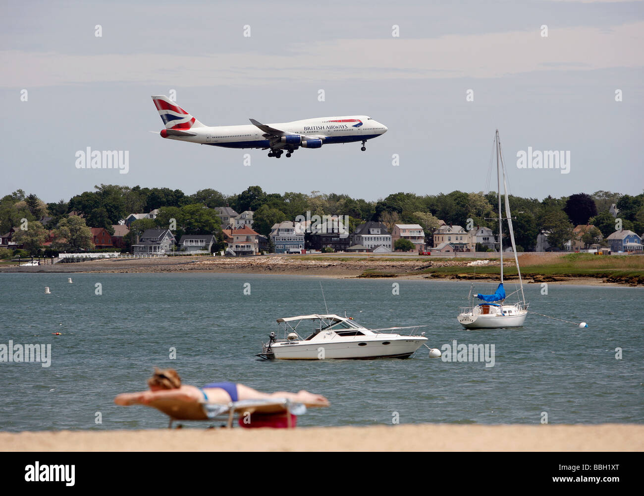 A British Airways 747 lands at Logan International Airport, Boston - Stock Image