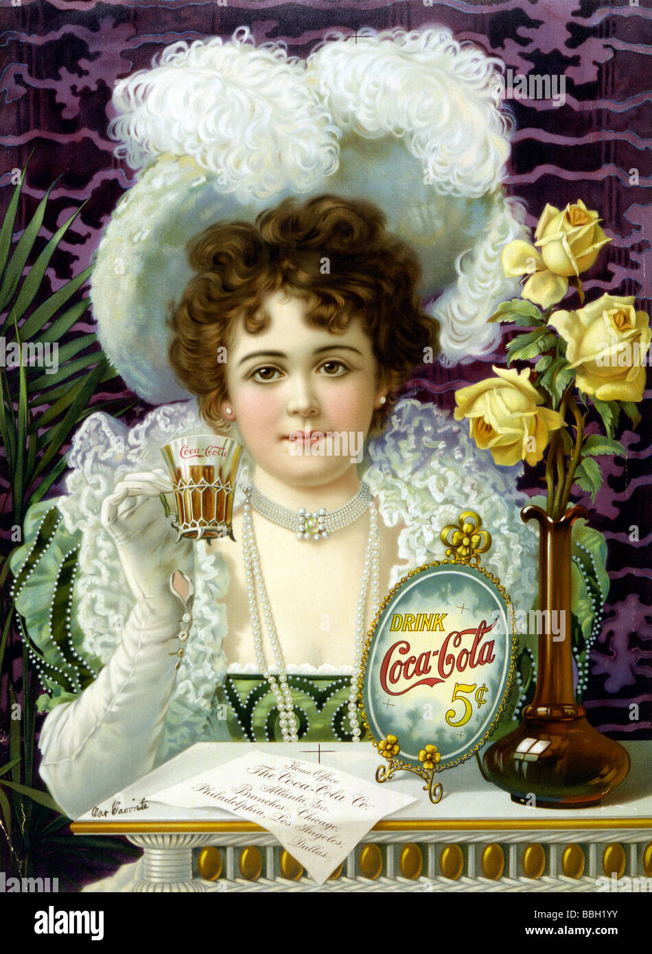 Promotional advert circa 1890s for Coca-Cola. - Stock Image