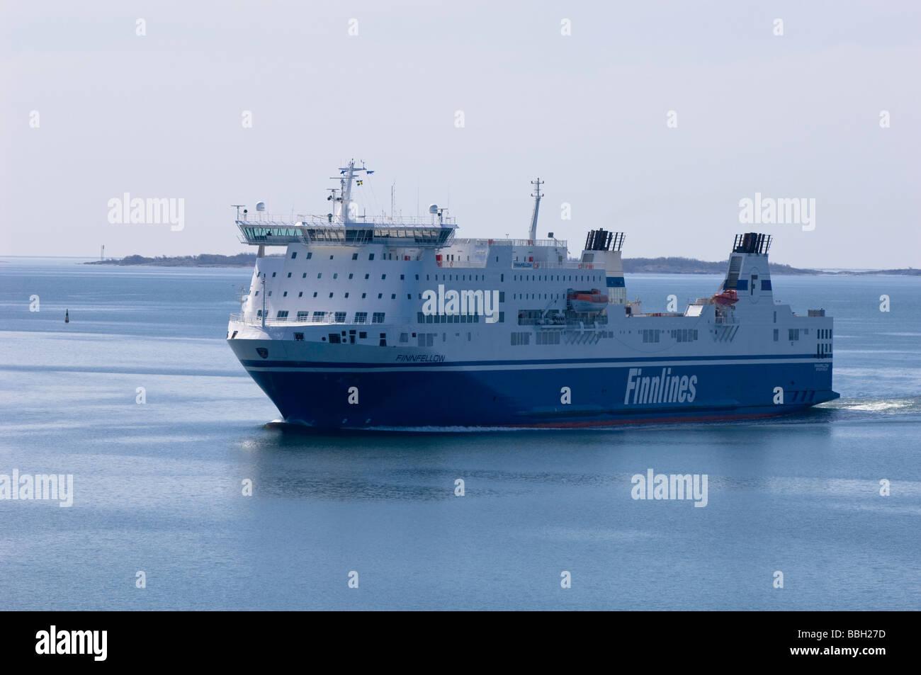Finnlines ferry on way to Turku Baltic Sea Finland - Stock Image
