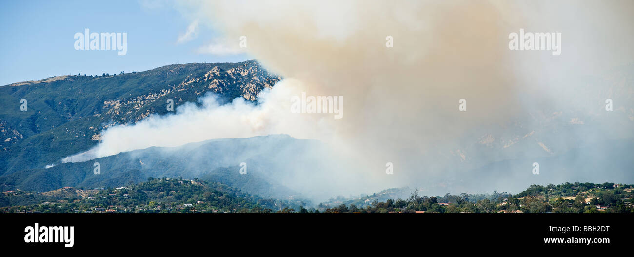 Santa Barbara, California - smoke of Jesusita fire covers foothills above Santa Barbara, Tuesday, May 5, 2009 Stock Photo