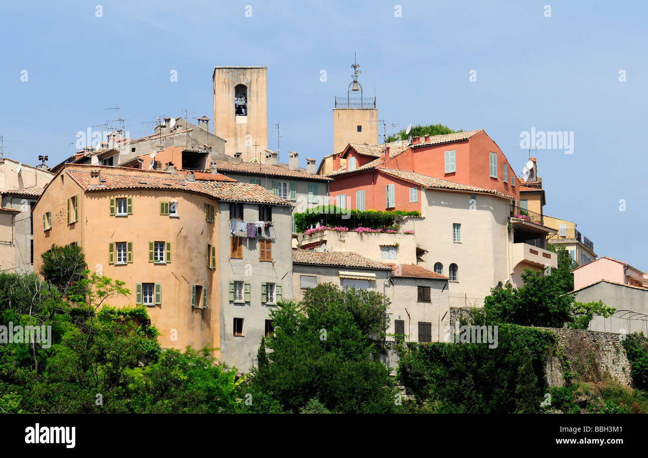 Overview of the famous village of Biot, a tiny village near St Tropez, in the hinterland of the French riviera (southern - Stock Image